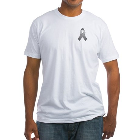 Gray Awareness Ribbon Fitted T-Shirt