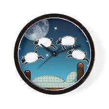 Bed Sky Counting Sheep at Night Wall Clock