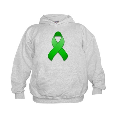 Green Awareness Ribbon Kids Hoodie