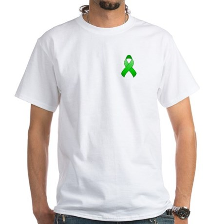 Green Awareness Ribbon White T-Shirt