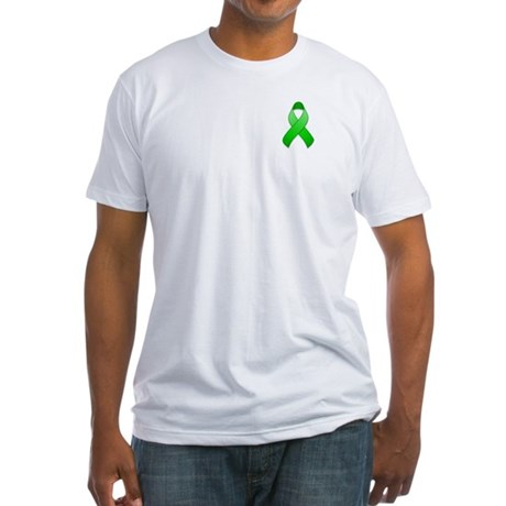 Green Awareness Ribbon Fitted T-Shirt