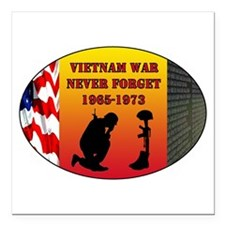 "Vietnam War Memorial Square Car Magnet 3"" x 3"""