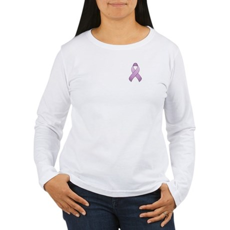 Lavender Awareness Ribbon Women's Long Sleeve T-Sh