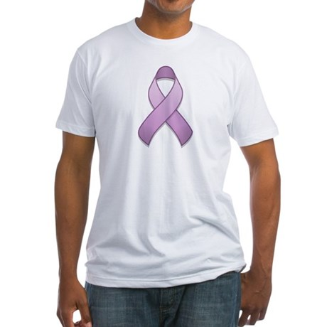 Lavender Awareness Ribbon Fitted T-Shirt
