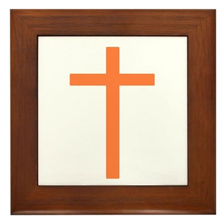 Orange Cross Framed Tile