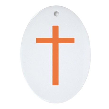 Orange Cross Oval Ornament