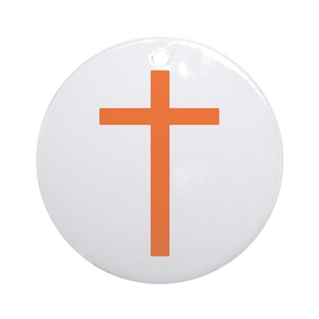 Orange Cross Ornament (Round)