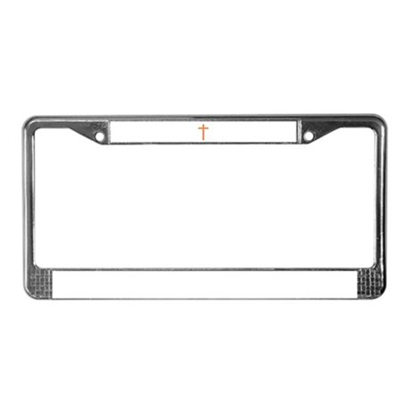 Orange Cross License Plate Frame