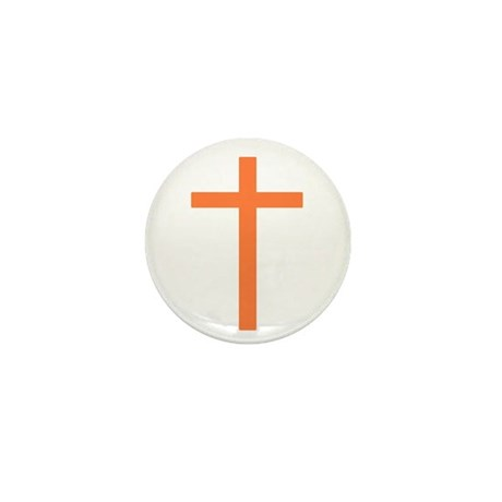 Orange Cross Mini Button