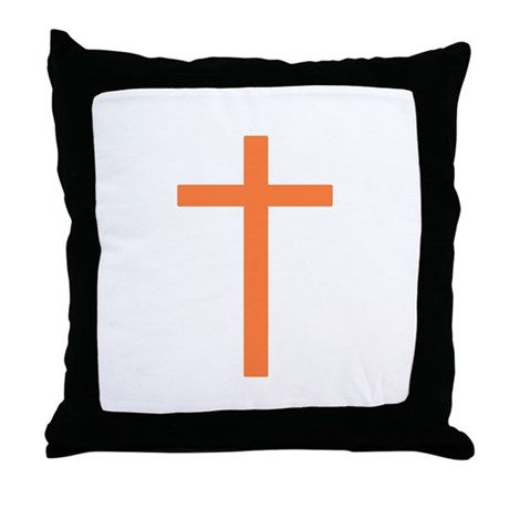 Orange Cross Throw Pillow