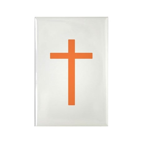 Orange Cross Rectangle Magnet
