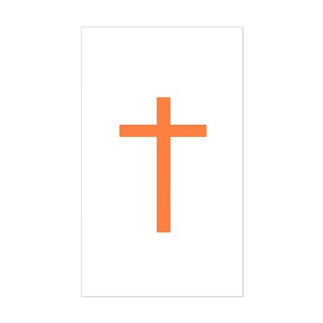 Orange Cross Rectangle Sticker