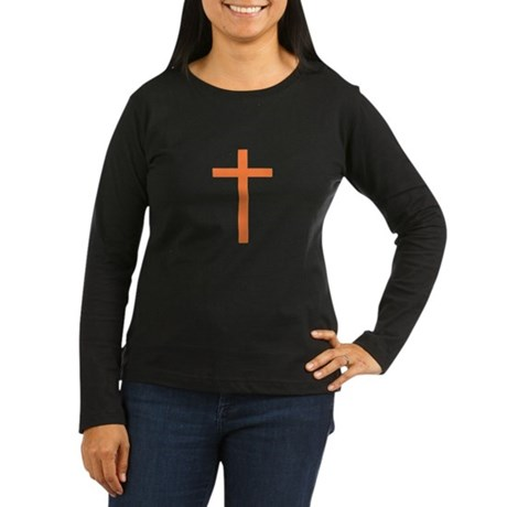 Orange Cross Women's Long Sleeve Dark T-Shirt