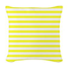 Navy Yellow Woven Throw Pillow