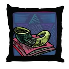 Jewish New year Card-Shofar 2 Throw Pillow