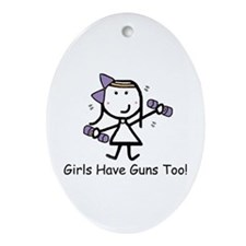 Exercise - Girls Guns Ornament (Oval)