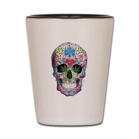 Decorated Skull n Weed Leaf Shot Glass