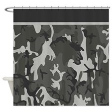 Grey Camo Pattern Shower Curtain