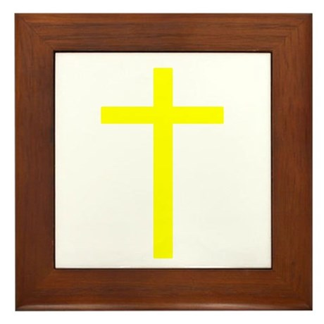 Yellow Cross Framed Tile