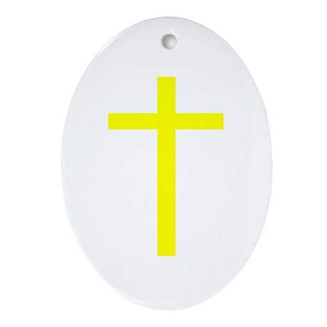 Yellow Cross Oval Ornament