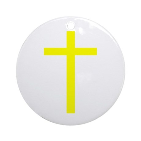 Yellow Cross Ornament (Round)