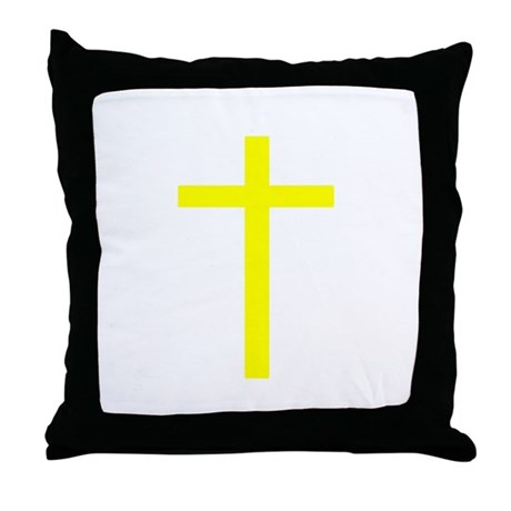 Yellow Cross Throw Pillow