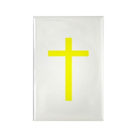 Yellow Cross Rectangle Magnet (100 pack)