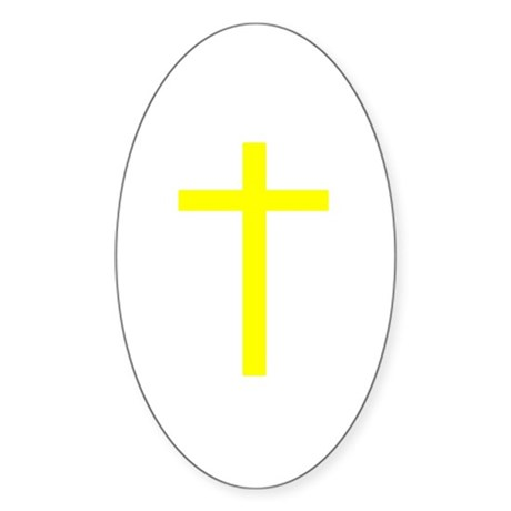 Yellow Cross Oval Sticker