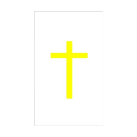Yellow Cross Rectangle Sticker