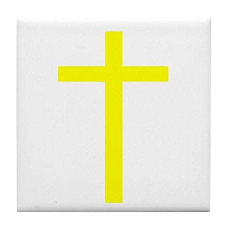 Yellow Cross Tile Coaster