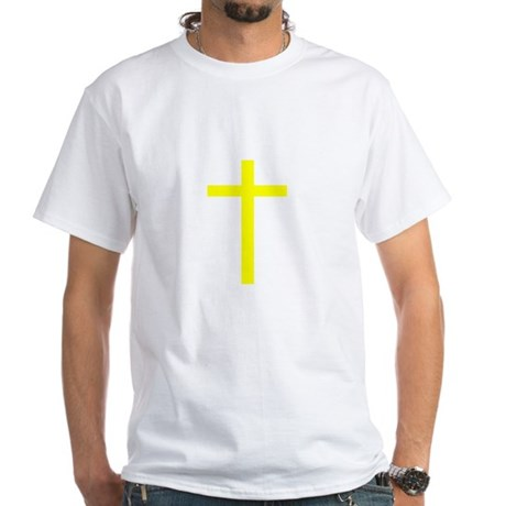 Yellow Cross White T-Shirt