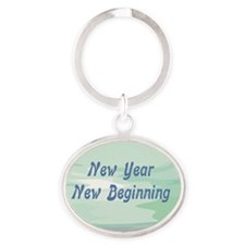 New Year New Beginning Oval Keychain