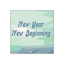 "New Year New Beginning Square Sticker 3"" x 3"""
