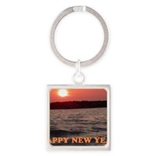 Happy New Year Sunset Square Keychain