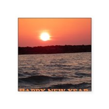 "Sunset New Year Card Square Sticker 3"" x 3"""
