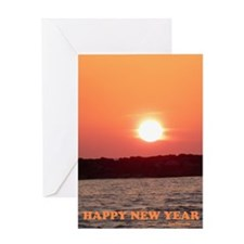 Sunset New Year 5.5x7.5 Greeting Card