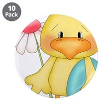 "Duck with egg and flower 3.5"" Button (10 pack)"