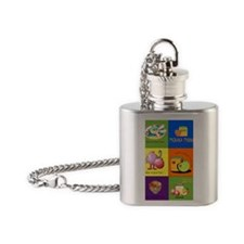 Hebrew English Greeting Card Flask Necklace