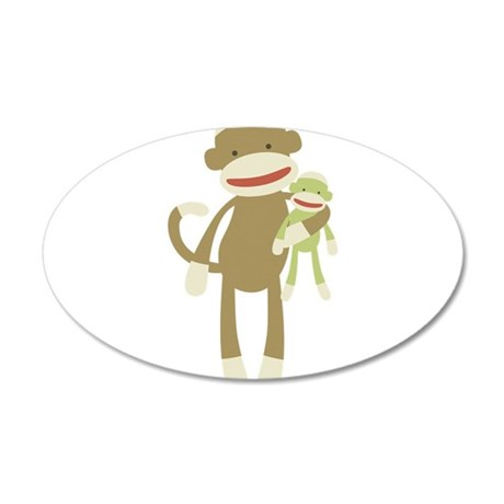 Sock monkey with baby 35x21 Oval Wall Decal