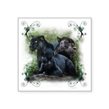 "3-black jaguar Square Sticker 3"" x 3"""