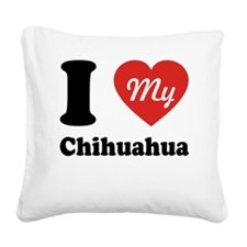 I Heart My Chihuahua Square Canvas Pillow