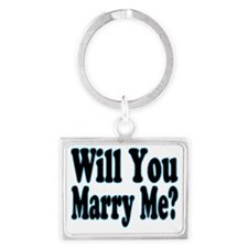 Will You Marry Me blue Landscape Keychain