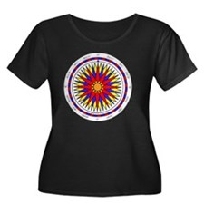 Compass  Women's Plus Size Dark Scoop Neck T-Shirt