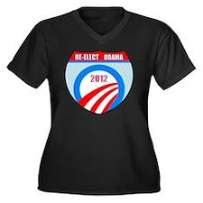 Re-Elect Oba Women's Plus Size Dark V-Neck T-Shirt