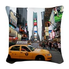 007890 Times Square NYC 2013 Woven Throw Pillow