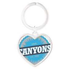 The Canyons Ski Resort Utah Sky Blu Heart Keychain