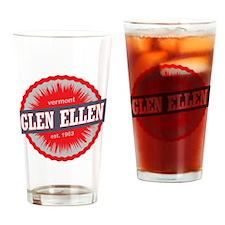 Glen Ellen Ski Resort Vermont Red Drinking Glass