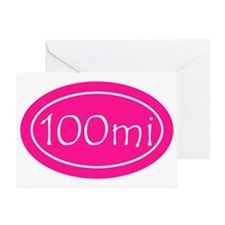 Pink 100 mi Oval Greeting Card