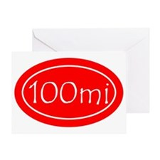 Red 100 mi Oval Greeting Card