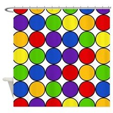 Retro Rainbow Polka Dots (4) Shower Curtain